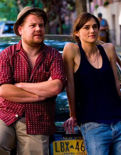 James Corden and Keira Knightley in Begin Again
