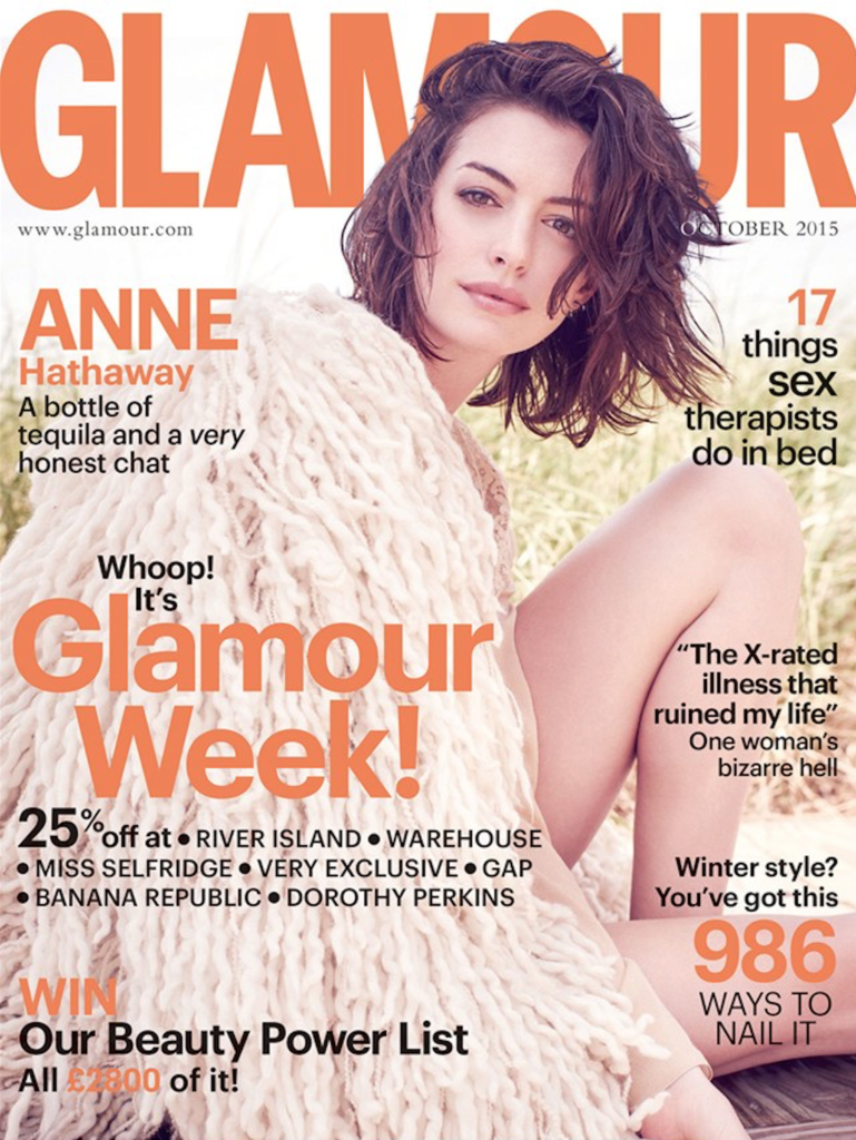 glamour uk magazine cover-anne hathaway-October 2015