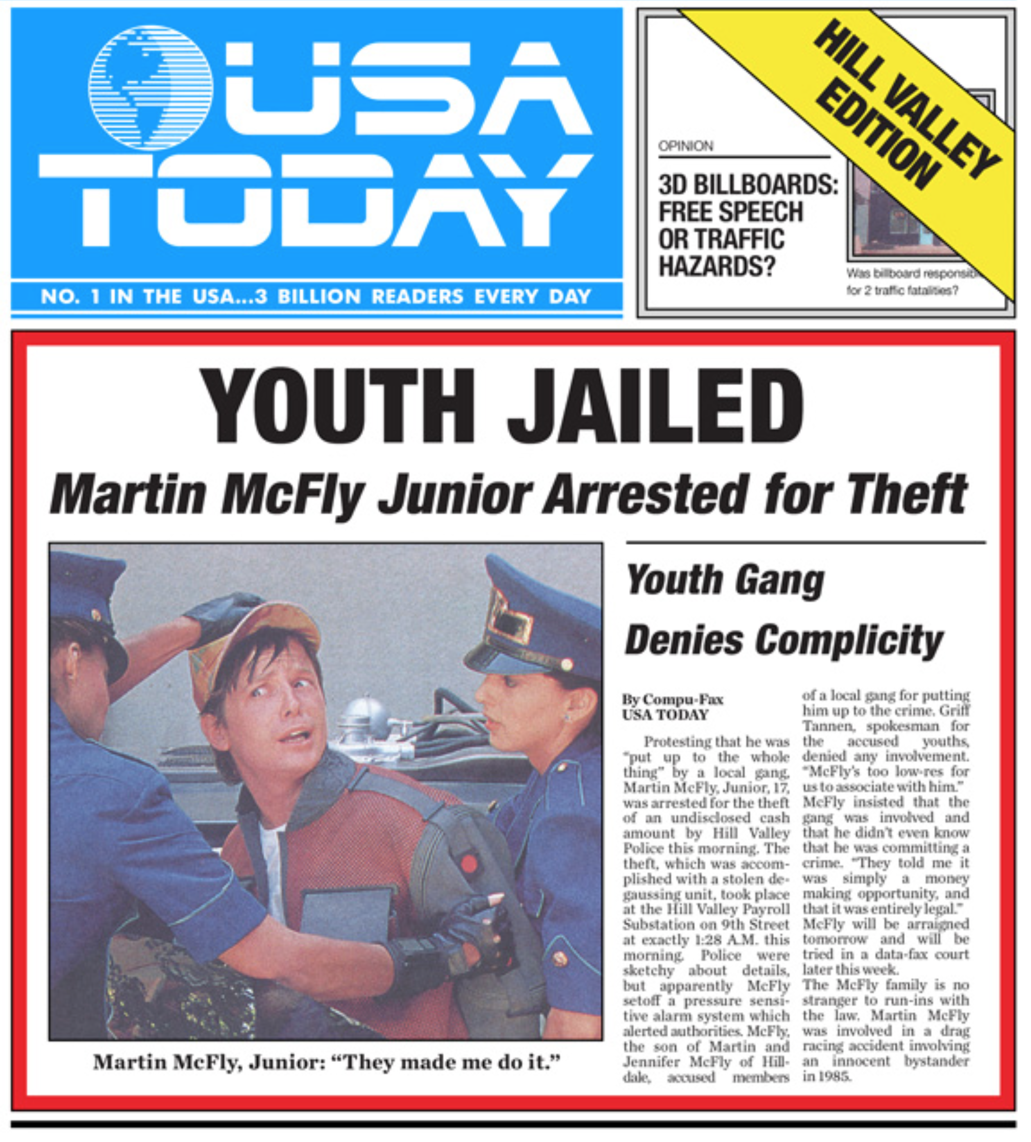 Usa Red Scare Usa Today Back To The Future Front Page