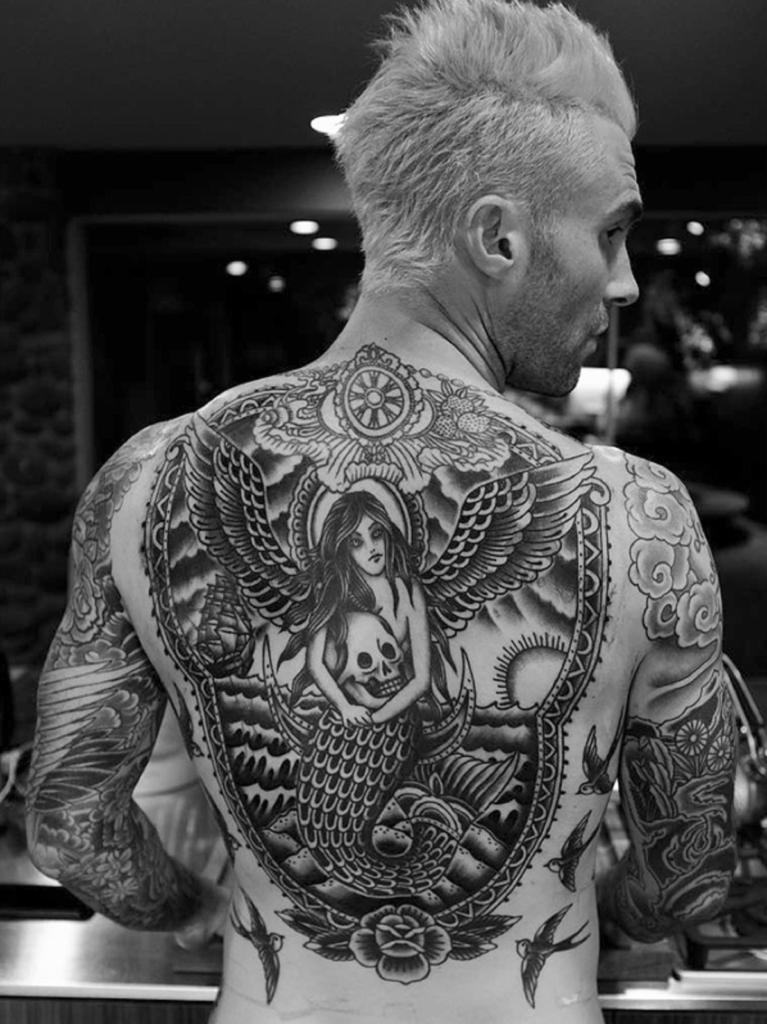 adam levine-back tattoo-instagram