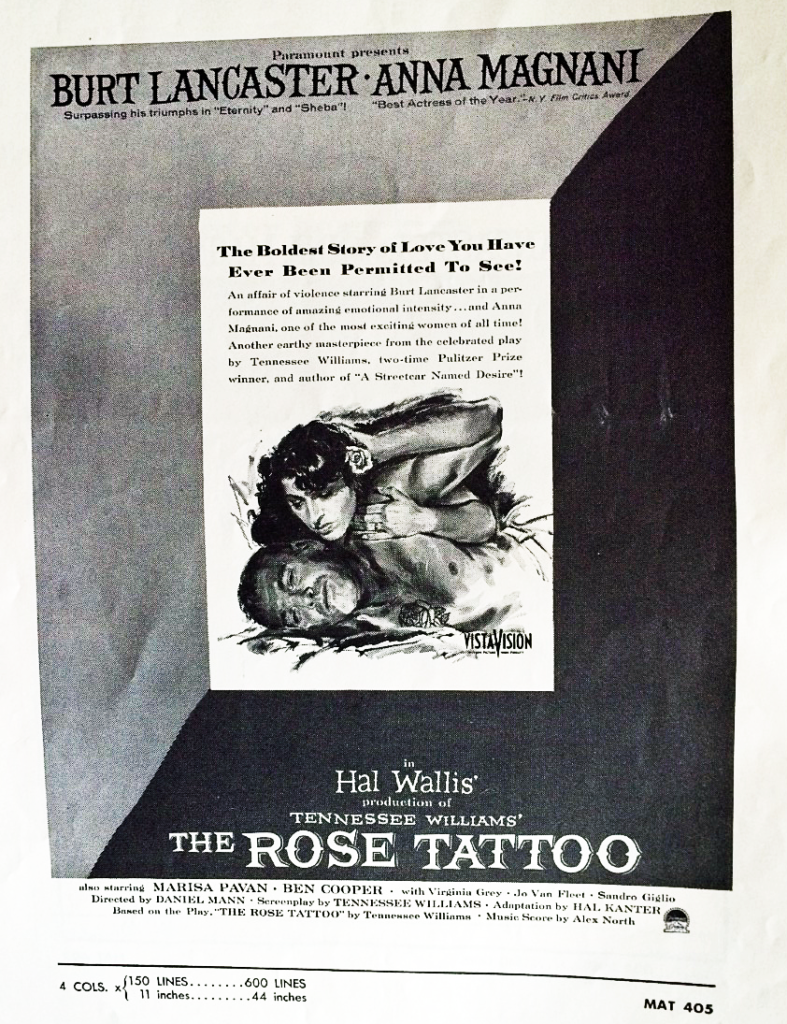 cover of pressbook for The Rose Tattoo