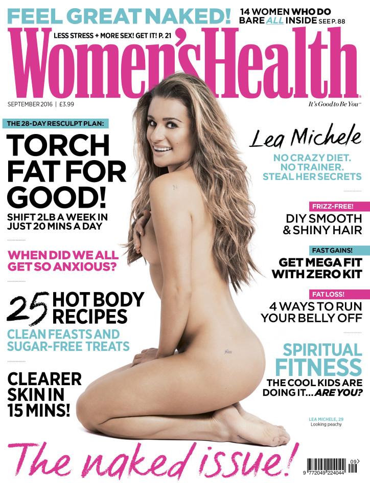 women's health UK-September 2016 naked issue-Lea Michele cover