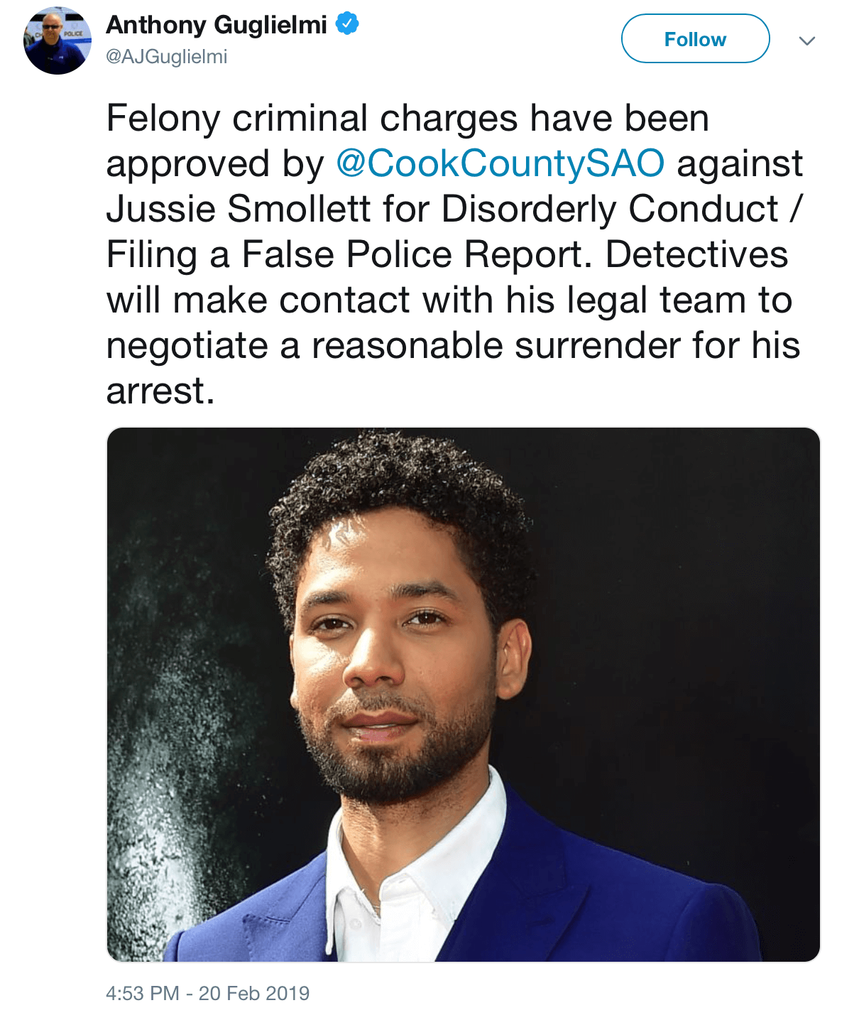 Felony Charges Approved Against Jussie Smollett, Say Chicago